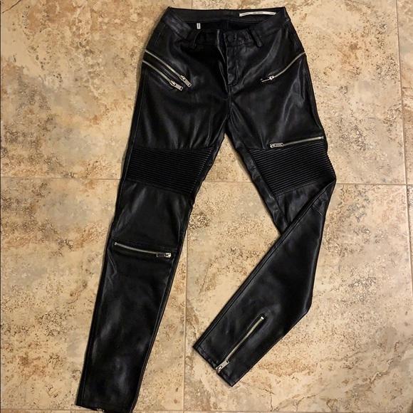 e9af0153584db8 Zara Pants | Leatherlook Zippered Biker Skinny | Poshmark